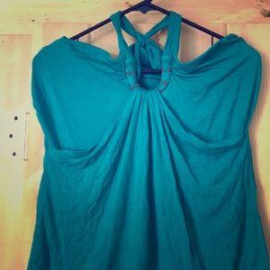 Green embellished halter top